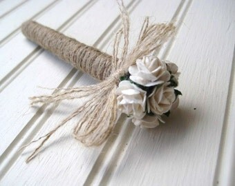 Wedding Guest Book Pen Rustic Wedding Rustic Pen Jute Wrapped Pen with Roses