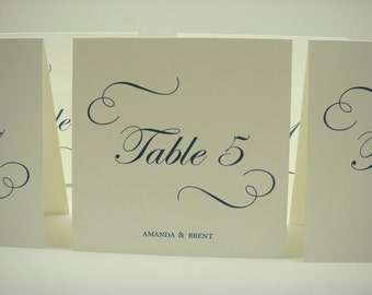 Wedding Table Number Tent Design Elegant Calligraphy Style Swirls and Script Font for Your Wedding Reception Table Decor