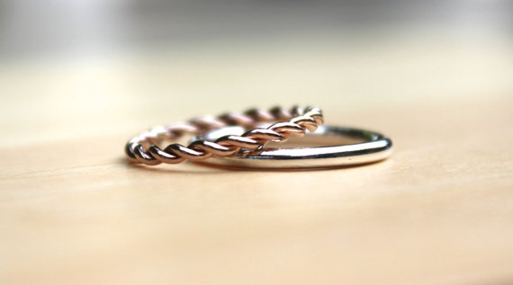 Rose Gold stacking rings / wedding band / set of 2 / sterling silver / extra thick