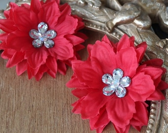 Red    color  organza flower with rhinestone 2 piece listing
