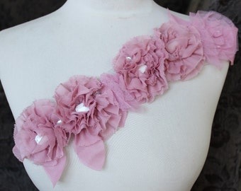 Cute embroidered  and beaded    flower  applique  pink  color