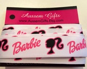"1"" wide white Barbie grosgrain ribbon with pink & black - 2 yards"