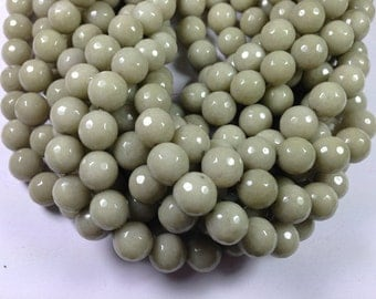 32 pcs 12mm round faceted dyed jade beads