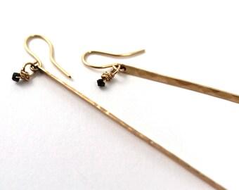 Gold Filled Stick Earrings, Gold Bar Earrings Black Diamond,  Gold filled Bar Earrings Dangle Earrings Handmade Earrings