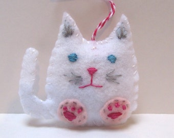 Felt Christmas Ornament, Cat Holiday Ornament, Cat Christmas Ornament, White Cat Ornament