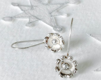 Dogwood Blossom Earrings, Sterling Silver, Handmade