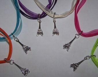 Paris Party Favors / Paris Eiffel Tower Charm Necklaces / Organza Ribbon Necklace / Girls Party Favors