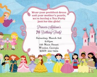Tea Party Invitation Birthday Princess Tea-Digital File