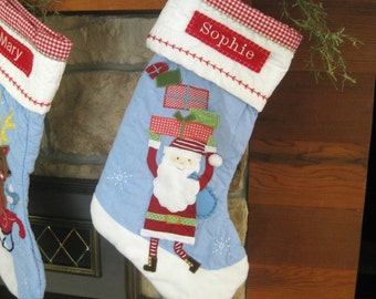 Christmas Stocking Pottery Barn Quilted Stocking --- Santa with Gifts --- Free Monogram