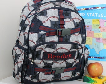 Backpack With Monogram (Large Size) Pottery Barn --Baseball Print