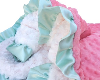 Stroller Size Coral and Ivory Minky Baby Blanket With mint satin ruffle, Personalized Baby Blanket, Baby Shower gift
