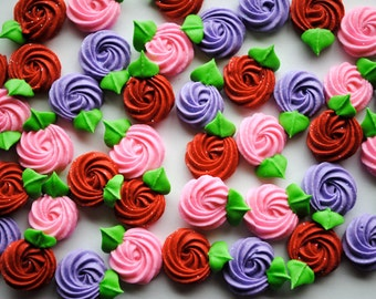 Valentine Rosettes- In Red, Pink and Lavender- Made from Royal Icing (24)