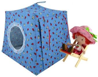 Toy Pop Up Tent, Sleeping Bags, light blue, ladybug print fabric