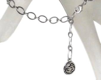Silver Om Ohm Aum Charm on Antiqued Silver Chain Bracelet