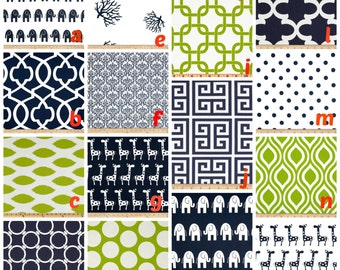 Custom Crib Bedding You Design   Bumper and Bedskirt in Navy and lime