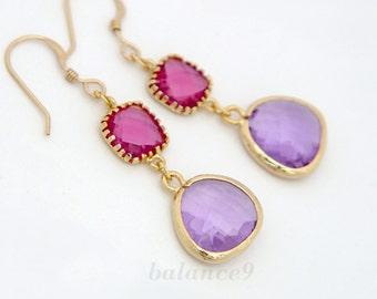 Crystal drop earrings, red purple earrings, dainty dangle, Fuchsia Lavendar Earrings, gold filled earwire, jewelry gift, by balance9