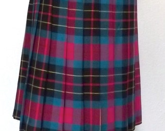 Vintage Tartan Pleated Plaid Skirt Black, Bright Pink & Teal