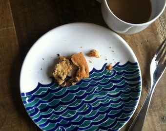 Nautical themed pottery, blue and turquoise water ceramic dessert plate, by Jessica Howard Ceramics