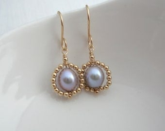Beaded Grey Pearl Earrings