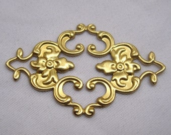 10pcs Flower Stamping Filigree Findings Flat Raw Brass Craft Supplies for Headware Design bf104
