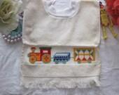 Baby Bib,Drool Bib Cross Stitch Choo Choo Train-Free Shipping