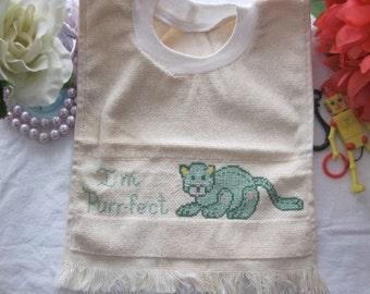 Baby Bib,Drool Bib Here Kitty,Kitty Cross Stitch Bib-Free Shipping