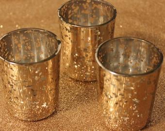 Sale Set of 50 MERCURY GLASS GOLD Speckled Glass Candle Votive Holder Candleholder Tea Light Vintage Wedding 2.5 Winter Christmas Gatsby