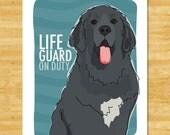 Newfoundland Art Print - Lifeguard on Duty - Black Newfie Newfoundland Gifts Dog Pop Art