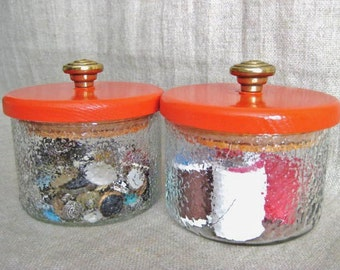 Retro Canister Jars / Upcycled Storage Jars in Bright Fire Orange / Eco-Friendly Storage and Organization Solutions for Home or Office