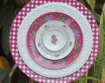 pink burgundy plum Glass Plate Flower Rose gingham vintage repurpose