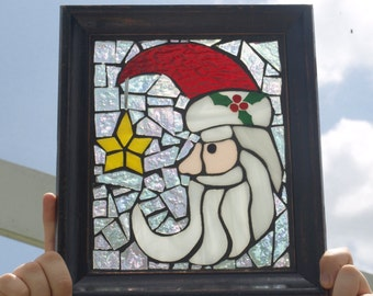 Stained Glass Mosaic Santa Moon Framed Frost Star