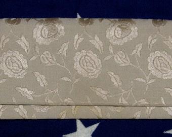 Vintage 1960s LENNOX Emboridered Floral Envelope CLUTCH