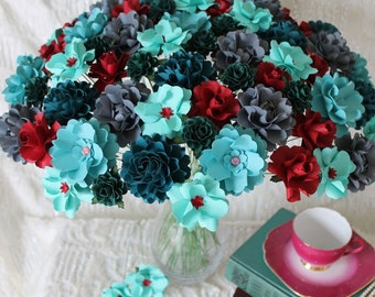 Teal and Red  Table Decoration - MIX Flowers - Handmade Paper Flowers -Set of 36 -  Made to Order - Custom colors