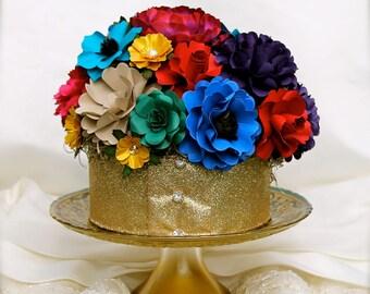 Jewel Tones - Centerpiece - Cake Topper  - Handmade Paper Flowers - Made to Order - Custom Colors