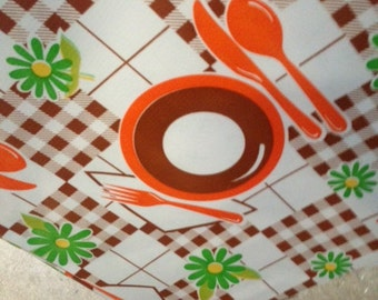 48x48 Picnic Brown and Orange Oilcloth Tablecloth with a Simple Hem