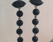 Black Cinnabar and Lava Stone Statement Earrings, Long Party Earrings, Cocktail Jewelry