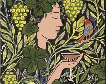 Wine Goddess Offering Art Tile