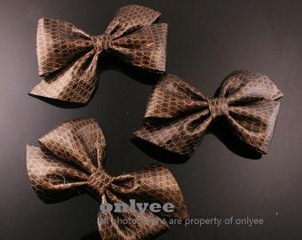 4PCS-95mm Faux Snake Leather Ribbon Bow-Brown(B220)