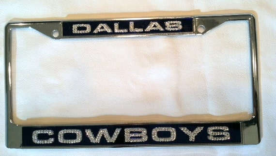 dallas cowboys crystal lazer license plate frame