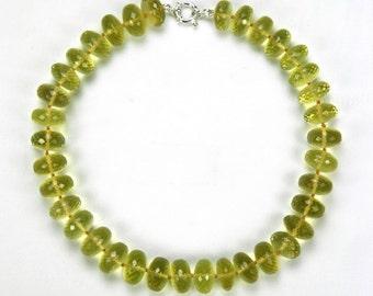 quartz beads round faceted necklace
