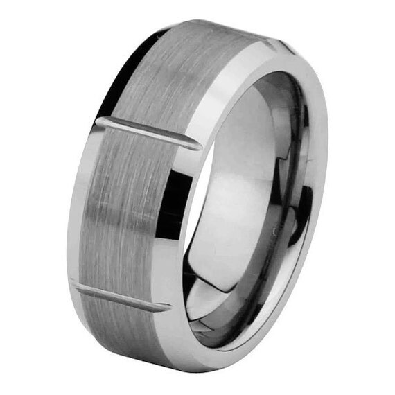 8MM Matte Finish Mens Tungsten Ring Wedding Band By Usajewelry