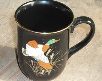 Vintage Otagiri Japan Mug Cup Mallard Duck Cattails Copper Green Gold on Black Coffee Tea Retro Dining Serving Dish Home Kitchen