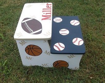 Kids Step stool, BOYS, Sports, Baseball, Football, Soccer, childs step stool, BENCH,  Kids Furniture, Personalized