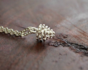 ON SALE Pine Cone Necklace Silver Pinecone Necklace Collier Pomme De Pin