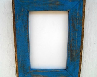 11x14 Picture Frame, Blue Rustic Weathered Style With Routed Edges, Rustic Home Decor