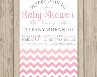 CHEVRON BABY SHOWER Invitation - Pink Ombre - Baby Girl Invitation