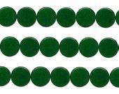 Wood Coin Beads Dark Green 15mm 16 Inch Strand