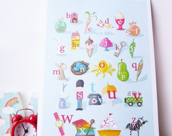 Washi Children's Alphabet ABC Signed Nursery Wall Art Print