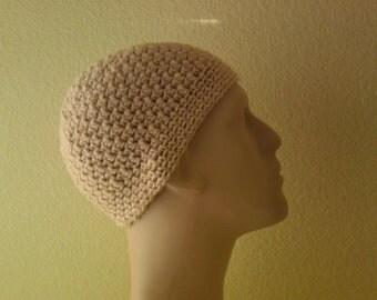 Beige crochet beanie hat for men, women and teens