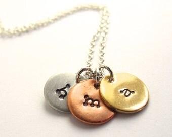 Tiny Initial Necklace Three Initial Charm Necklace Personalized Jewelry Mommy Jewelry Custom Initial Jewelry Necklace